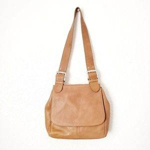 Tignanello Tan Leather Saddle Shoulder Bag Purse